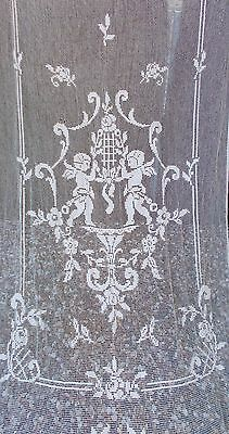 French Antique Filet Lace Curtain With Central Cartouche Of 2 Angels / Putti
