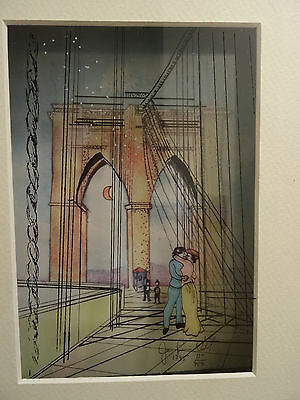 jean pierre weill 3D layered glass painting, Lovers Embrace on Bridge, Signed