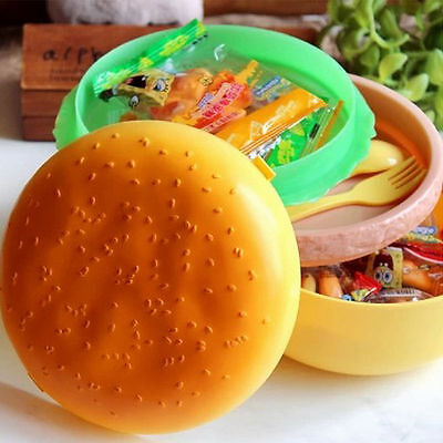 Kids Hamburger Bento Lunch Box Food Container Storage with Spoon Fork JH