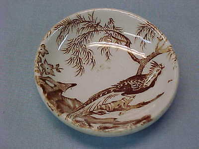 "Antique Brown Transferware Peacock Butter Pat 2 1/2"" Wide  #153"