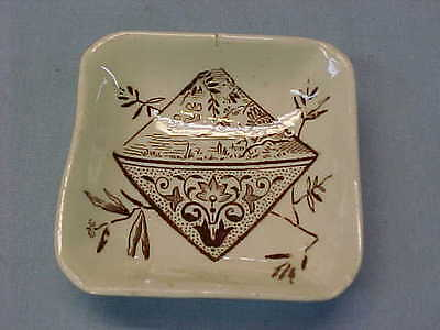 "Antique Square Brown Transferware Butter Pat 2 1/2"" Wide  #155"
