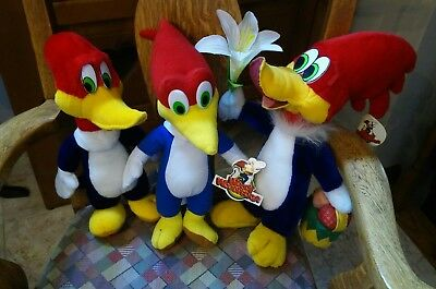 Lot of 3 Plush Woody Woodpecker with Tags: Toy Network, KellyToy 1999 2000 2012