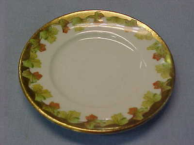 "Vintage Leaves with Gold Trim Butter Pat 3 1/4"" Wide  #156"