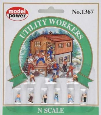 Model Power Utility Workers (9 figures) Ready to Use - 1367 - N Gauge