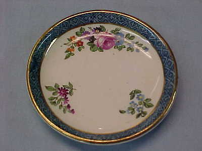 "Antique Booths England Blue Band with Flowers Butter Pat 3"" Wide  #164"