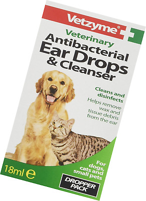 Vetzyme Veterinary Antibacterial Ear Drops and Cleanser, 18 ml Helps Remove wax
