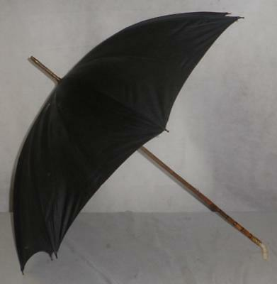 Vintage/Antique 18Ct Gold Plate Black Bamboo- Umbrella/Parasol-