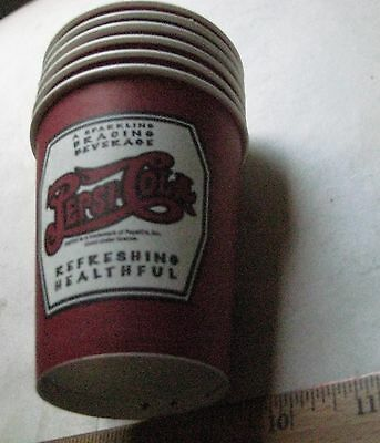 559-1Un Six Vintage 9 Oz. Pepsi Cola Cups 3.625 Inches I;n Height, No Zip Code N