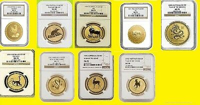 1996-2006 Australia Gold Lunar 10 Coins Set 10 Oz Pure Gold Ngc Ms 70 Series 1