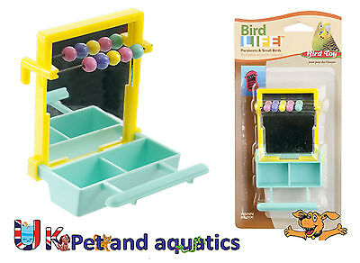 Bird Toy, For Budgies & Small Birds, Mirror With Perch, Beads & Cup