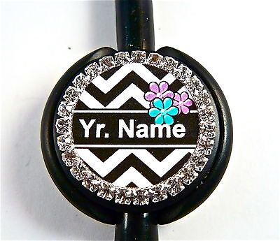 Id Stethoscope Name Tag Bling Chevron Design Nurse,rn,medical,er,ct,ma,vet Tech