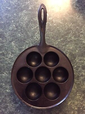 Early Fancy Handle Antique Cast Iron Danish Aebleskiver