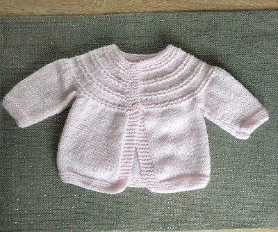 Hand Knitted Baby Martinee Cardigan In New Pink Sparkly Wool 0/3 Months
