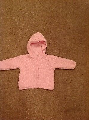 Baby girl Mini Club pink cotton lined hooded cardigan size 0-3 months