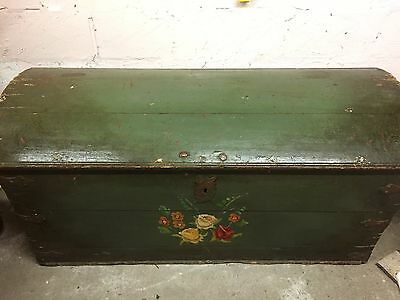 Antique 19th Century Continental Pine Painted Domed Wedding Chest