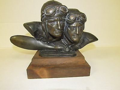 Amazing Antique Spelter Sculpture Bust of 2 Pilots Wood Base Early Aviation DJ01