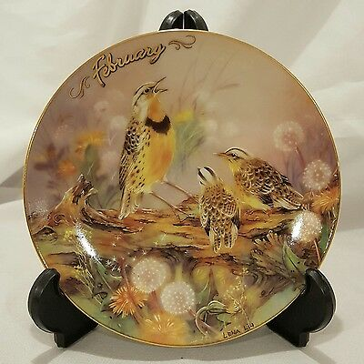 FEBRUARY - MEADOWLARKS Collector Plate LENA LIU Bless This House BIRD