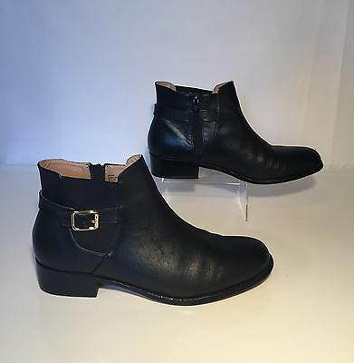 Lands' End Low Equestrian Black Leather Ankle Boots Blakeley 445967 US 8.5-9 M