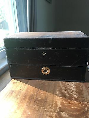 Antique Metal Engraving Hand Tool Box With Tools