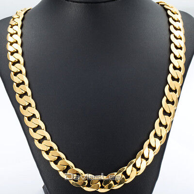 Davieslee Hip Hop Mens Necklace Curb Cuban Chain Gold Filled Jewelry Party Da...