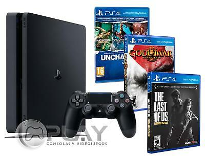 PS4 Slim 500 gb + 5 Giochi - The Last of us + God war 3 + Uncharted Collection