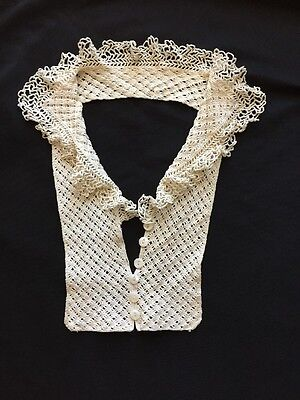 VTG Hand Crocheted Lace Removable Collar/Dickie Cream Cotton MOP Buttons