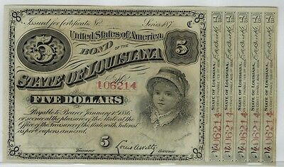 STATE OF LOUISIANA 1879 $5 Baby Bond