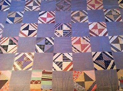 "Antique Hand Stitched Unfinished Quilt Top Large 76"" X 60"""