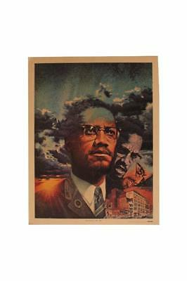 Malcolm X Poster Charles Lilly Encore Magazine Alex Hailey Autobiography
