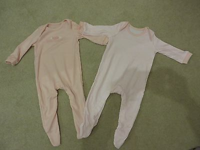 George at ASDA 2 Pink Long Sleeve Baby Sleepsuits - Size 3-6 Months - Never Worn