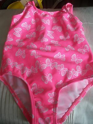 Beautiful Baby Girls Swimming Costume Age 12-18 Months Pink/ White Butterflies