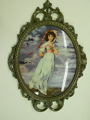 """Vtg Large 17 1/4"""" Bubble Convex Glass Wall Hanging Italy. Girl in White & Red"""