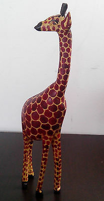 Wooden Hand Carved GIRAFFE 24 Inches Tall Handmade Carving by Masai Kenya