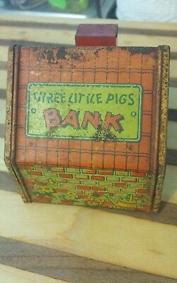 Antique J. Chein Three Little Pigs Tin Litho Bank