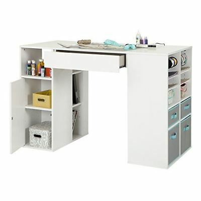 South Shore Furniture Crea Counter-Height Craft Table with Storage, Pure White