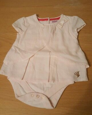 ted baker baby girl pale pink 3-6 months top with built in vest