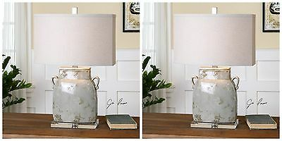 Two Large Rich Ivory Gray Ceramic Table Lamp Linen Reading Crystal Foot Light