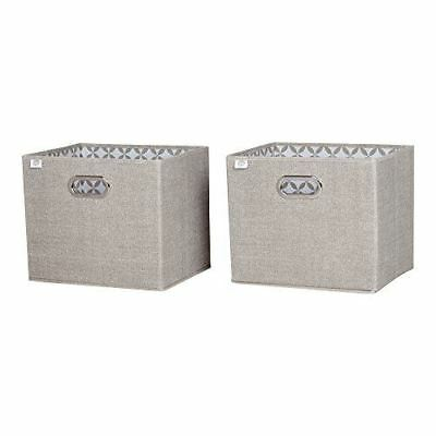 South Shore Furniture Storit Chambray Fabric Storage Baskets (2 Pack), Taupe
