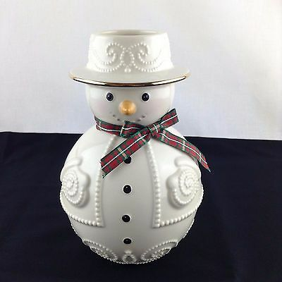 """Lenox Christmas/Holiday Giftables Snowman Vase Embossed Beaded Gold Trim 6 1/2"""""""