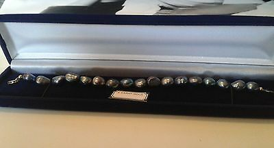"MINAS Tahitian Peacock Pearl Bracelet 7.5"" With 9ct Gold Box Clasp."
