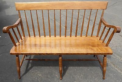 Vintage Nichols & Stone Deacon's Spindled Back Entryway Bench.