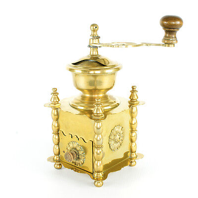 Antique solid Brass hand crank table box Coffee Mill Grinder European  , HEAVY