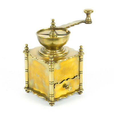 Antique European solid Brass hand crank table box Coffee Mill Grinder, HEAVY