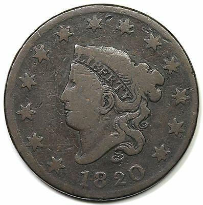 1820 Coronet Head Large Cent, Large Date, VG detail