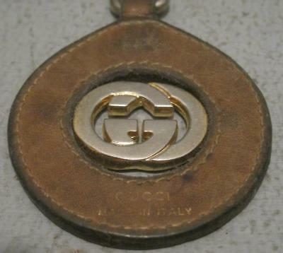 Vintage Gucci Leather And Brass Key Chain Italy