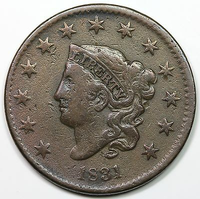 1831 Coronet Head Large Cent, Large Letters, VF detail