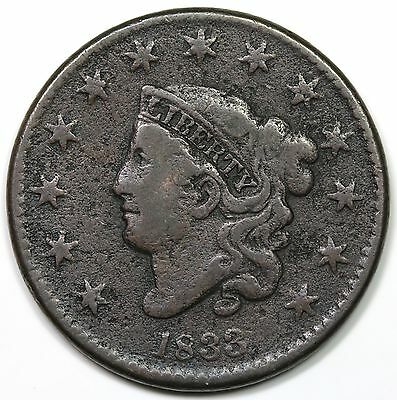 1833 Coronet Head Large Cent, F-VF detail