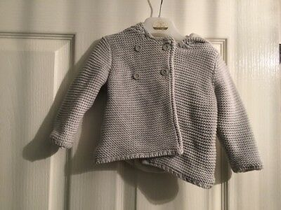 marks and spencer Baby 6-9 Months Grey Knitted Hooded Cardigan
