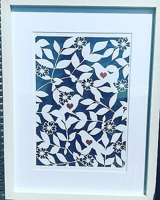 Paper Cut. Birds On Branches, Ideal New Home Gift. Handmade. Housewarming Frame.