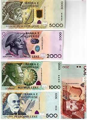 Full Set Albania Paper Money, Banknotes: 200, 500, 1000, 2000, 5000 leke. UNC
